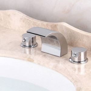 バス水栓 洗面蛇口 浴槽水栓 冷熱混合栓 滝状吐水口 2ハンドル クロム 3点