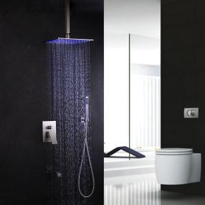 LED埋込形シャワー水栓 レインシャワーシステム シャワーヘッド ハンドシャワー 浴槽蛇口 バス水栓 混合栓 ヘアライン