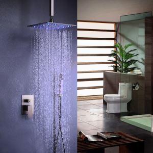 LED埋込形シャワー水栓 レインシャワーシステム シャワーヘッド ハンドシャワー バス水栓 混合栓 ヘアライン