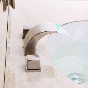 LED洗面蛇口 バス水栓 冷熱混合栓 水道蛇口 2ハンドル ヘアライン