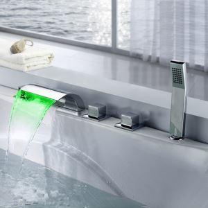 浴槽水栓 バス蛇口 シャワー混合栓 浴室水栓 ハンドシャワー付 水道蛇口 LED蛇口付き 水流発電 5点 クロム
