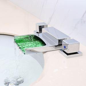 LED洗面蛇口 バス水栓 冷熱混合栓 浴室蛇口 浴槽水栓 水道蛇口 2ハンドル 水流発電 3点 クロム