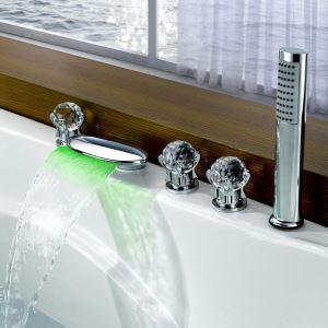 浴槽水栓 バス蛇口 シャワー混合栓 浴室水栓 ハンドシャワー付 水道蛇口 水流発電 5点 クロム