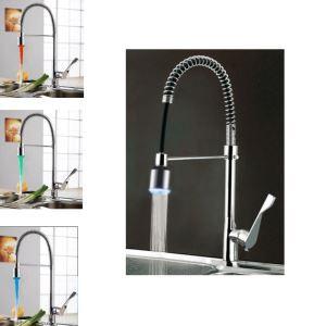 LEDキッチン水栓 台所蛇口 冷熱混合栓 水道蛇口 水栓金具 ばね型 クロム 水流発電