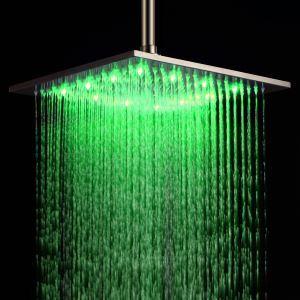 3色LEDシャワーヘッド レインシャワー水栓 ステンレス鋼 16in ヘアライン