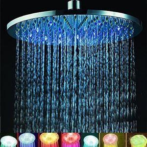 7色LEDシャワーヘッド レインシャワー水栓 真鍮 12in クロム