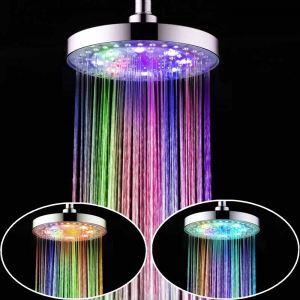 7色LEDシャワーヘッド レインシャワー水栓 ABS 10in クロム