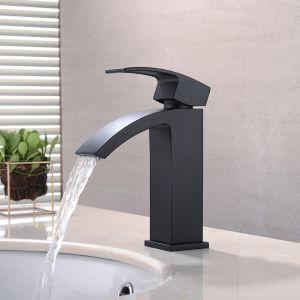 洗面水栓 バス蛇口 冷熱混合栓 立水栓 手洗器蛇口 水栓金具 水道蛇口 黒色 H17cm