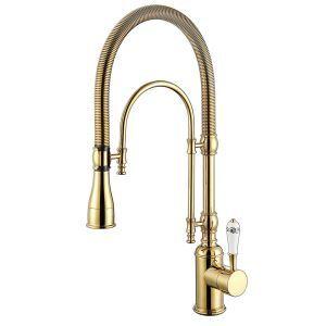 キッチン水栓 台所蛇口 冷熱混合栓 水栓金具 水道蛇口 ばね型 3色