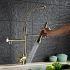 キッチン水栓 台所蛇口 冷熱混合栓 水道蛇口 水栓金具 整流&シャワー吐水式 ばね型 金色
