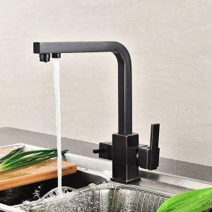 キッチン水栓 台所蛇口 冷熱混合栓 浄水器用水栓 浄水・原水切替 水道蛇口 2ハンドル 3色