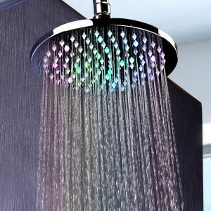 7色LEDシャワーヘッド レインシャワー水栓 ABS 8in クロム