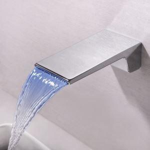 LED壁付水栓 バス蛇口 洗面水栓 冷熱混合栓 水栓金具 水道蛇口 水流発電 2点 クロム