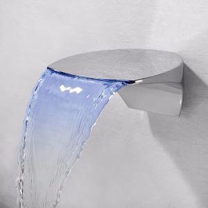 LED壁付水栓 バス蛇口 洗面水栓 冷熱混合栓 水道蛇口 水栓金具 水流発電 2点 クロム