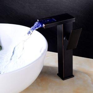 LED洗面蛇口 バス水栓 冷熱混合栓 水道蛇口 水栓金具 水流発電 ORB H24cm