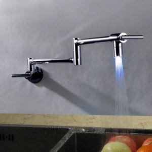 LED壁付水栓 キッチン蛇口 台所蛇口 冷熱混合栓 水道蛇口 2吐水口 整流&シャワー吐水式 折畳み クロム 水流発電