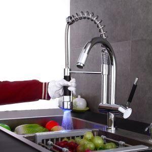 LEDキッチン水栓 台所蛇口 冷熱混合栓 水道蛇口 水栓金具 2吐水口 整流&シャワー吐水式 クロム 水流発電