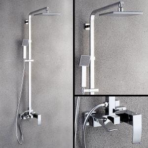 浴室シャワー水栓 シャワーシステム シャワーヘッド+ハンドシャワー+蛇口 クロム