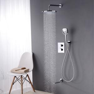 埋込形シャワー水栓 サーモスタット式混合栓 レインシャワーシステム バス水栓 ヘッドシャワー+ハンドシャワー+蛇口 クロム