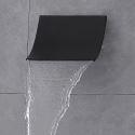 壁付水栓 浴槽蛇口 注ぎ口 水栓金具 ステンレス製 滝状吐水口 黒色(ハンドル無し)