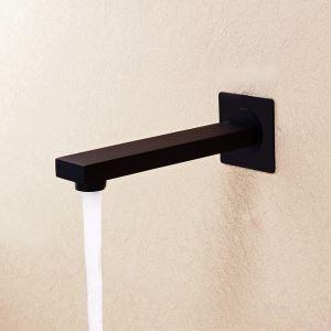 壁付水栓 洗面蛇口 注ぎ口 水栓金具 真鍮製 黒色(ハンドル無し)