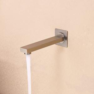壁付水栓 洗面蛇口 注ぎ口 水栓金具 真鍮製 ヘアライン(ハンドル無し)