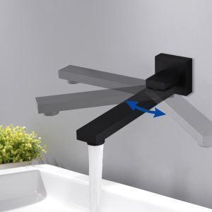 壁付水栓 洗面蛇口 注ぎ口 水栓金具 180°回転 真鍮製 黒色(ハンドル無し)