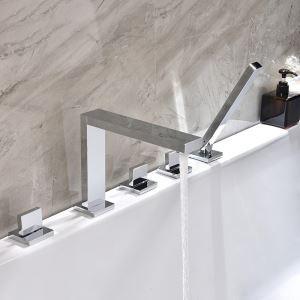 浴槽水栓 バス蛇口 シャワー混合栓 浴室水栓 ハンドシャワー付 水道蛇口 5点 クロム