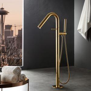 床置きシャワー水栓 床立ち上げ式浴槽蛇口 バス水栓 冷熱混合栓 ハンドシャワー付 水道蛇口 3色