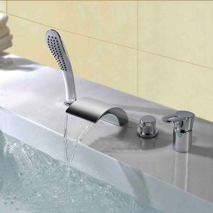 浴槽水栓 バス蛇口 シャワー混合栓 浴室水栓 ハンドシャワー付 水道蛇口 4点 クロム