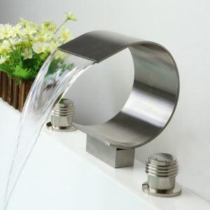 洗面蛇口 バス水栓 冷熱混合栓 手洗器蛇口 浴槽水栓 水道蛇口 2ハンドル 3点 ヘアライン