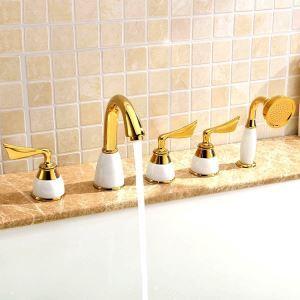 浴槽水栓 バス蛇口 シャワー混合栓 浴室水栓 ハンドシャワー付 水道蛇口 5点 3色