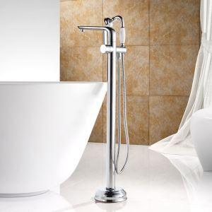 床置きシャワー水栓 床立ち上げ式浴槽蛇口 バス水栓 冷熱混合栓 ハンドシャワー付 水道蛇口 クロム