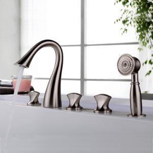 浴槽水栓 バス蛇口 シャワー混合栓 浴室水栓 ハンドシャワー付 水道蛇口 5点 ヘアライン/クロム