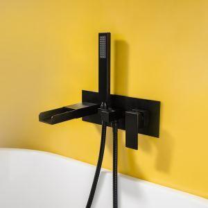 浴槽水栓 壁付蛇口 シャワー混合栓 バス水栓 ハンドシャワー付 水道蛇口 浴室水栓 黒色