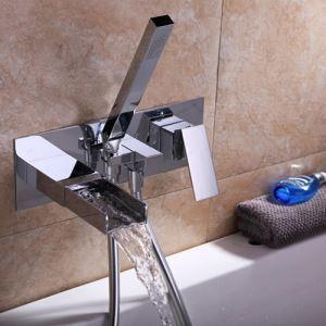 浴槽水栓 壁付蛇口 シャワー混合栓 浴室水栓 ハンドシャワー付 バス水栓 水道蛇口 クロム