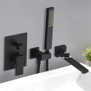 浴室シャワー水栓 バス水栓 ハンドシャワー 混合水栓 水道蛇口 蛇口付き 風呂用 黒色/クロム