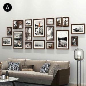 壁掛けフォトフレーム 写真立てセット 額縁 フォトデコレーション 木製 18個セット YMQ20