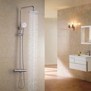 浴室シャワー水栓 シャワーシステム サーモスタット付 シャワーヘッド+ハンドシャワー ヘアライン