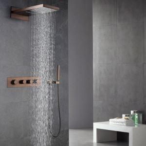 埋込形シャワー水栓 サーモスタット式混合栓 レインシャワーシステム ヘッドシャワー+ハンドシャワー バス水栓 水道蛇口 ORB
