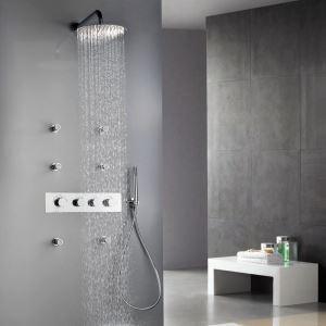 埋込形シャワー水栓 サーモスタット式混合栓 レインシャワーシステム ヘッドシャワー+ハンドシャワー バス水栓 水道蛇口 クロム