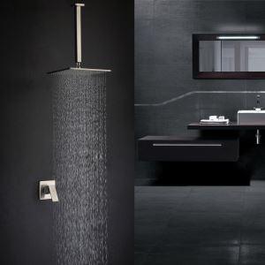 埋込形シャワー水栓 ヘッドシャワー バス蛇口 レインシャワーヘッド ヘアライン 8in/10in