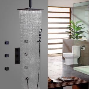 埋込形シャワー水栓 サーモスタット水栓 レインシャワーシステム ヘッドシャワー+ハンドシャワー+ボディスプレー バス水栓 混合栓 黒色