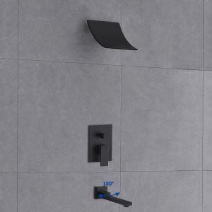 埋込形シャワー水栓 サーモスタット水栓 滝状ヘッド 滝状吐水口 ヘッドシャワー+ハンドル+浴槽蛇口 バス水栓 混合栓 黒色