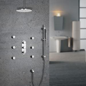 埋込形シャワー水栓 サーモスタット水栓 レインシャワーシステム ヘッドシャワー+ハンドシャワー+ボディスプレー バス水栓 混合栓 クロム
