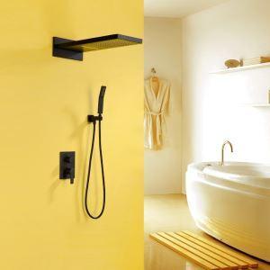 埋込形シャワー水栓 サーモスタット水栓 レインシャワーシステム ヘッドシャワー+ハンドシャワー バス水栓 混合栓 黒色