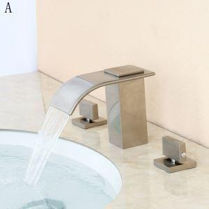 洗面蛇口 バス水栓 冷熱混合栓 手洗器蛇口 水道蛇口 水栓金具 2ハンドル ORB/ヘアライン