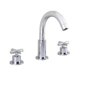 洗面蛇口 バス水栓 冷熱混合栓 手洗器蛇口 水道蛇口 水栓金具 2ハンドル クロム