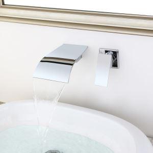 壁付蛇口 バス水栓 洗面蛇口 冷熱混合栓 水栓金具 水道蛇口 滝状吐水口 クロム