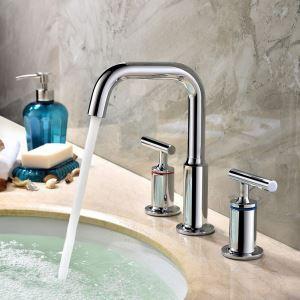 洗面蛇口 バス水栓 冷熱混合栓 手洗器蛇口 水道蛇口 水栓金具 2ハンドル 7字型 クロム